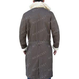 Mens Fur Collar Cotton Trench Coat