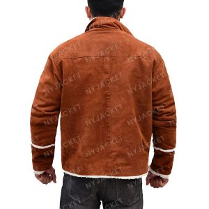 Mens Ivory Shearling Brown Leather Jacket