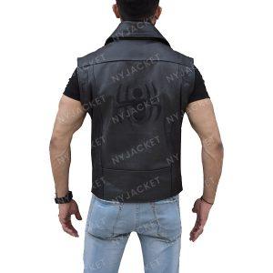 Mens Leather Black Vest