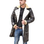 Mens Mid-Length Leather Coat