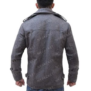 Mens Mid-Lenth Grey Wool Coat