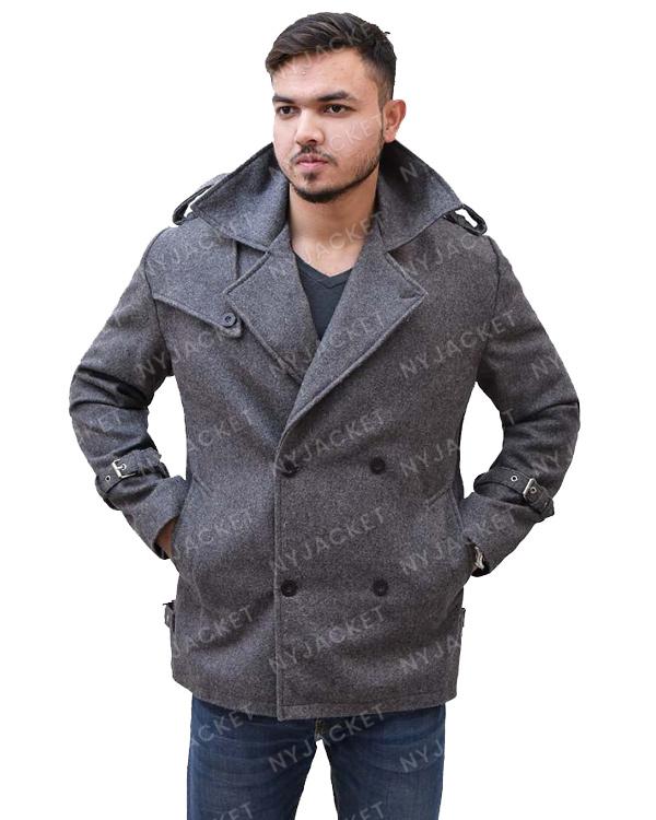 Mens Mid-Lenth Grey Coat