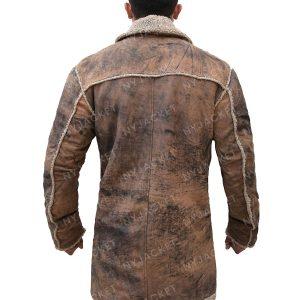 Mens Shearling Brown Leather Coat