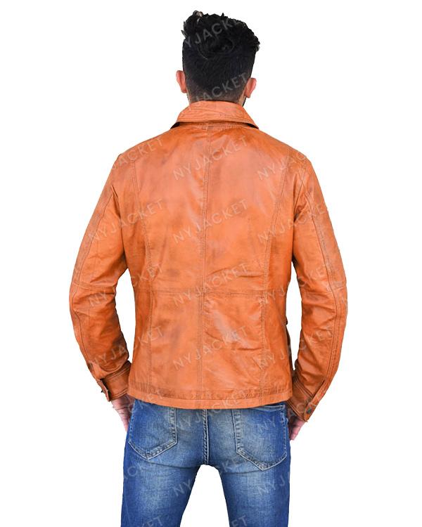 Mens Turn Down Collar Multi Pocket Leather Jacket