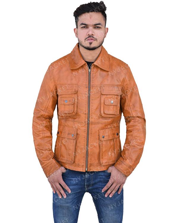 Mens Turn Down Collar Multi Pocket Jacket