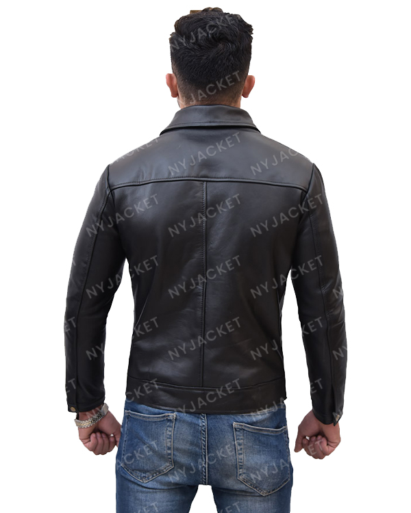 Mens Turn Down Collar Slimfit Black Jacket