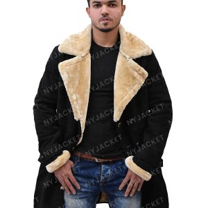 Mens Black Velvet Ivory Fur Coat