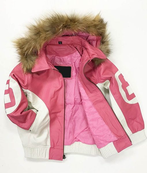 8-Ball-Pink-Leather-Jacket-With-Hood