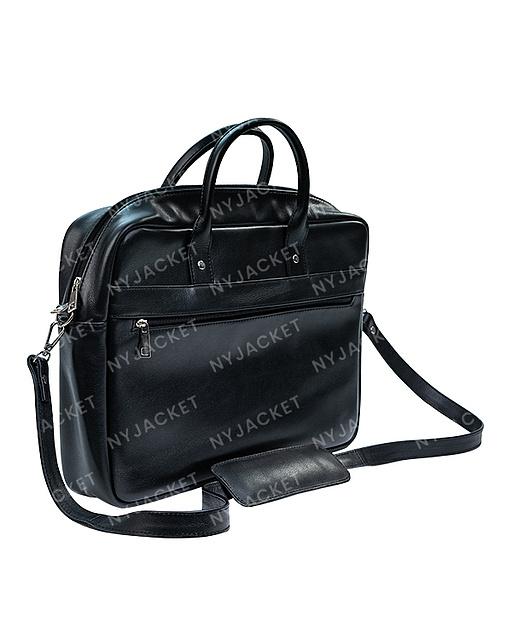 Black Leather hanging Laptop Bag