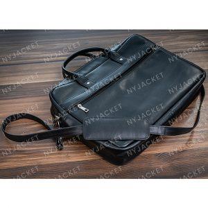 Black Leather stylish Laptop Bag