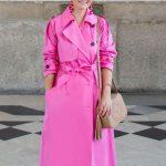Women's Bright Pink Hot Trench Coat