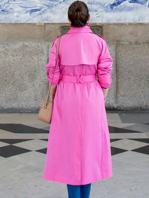 Women's BrightPink Hot Trench Coat