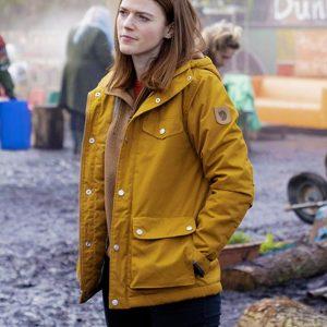 Rose-Leslie-Vigil-Season-1-Kirsten-Longacre-Yellow-Hooded-Jacket