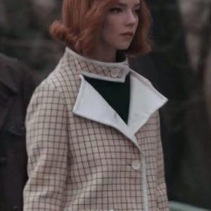 The Queen's Gambit Anya Taylor-Joy Checkered White Coat