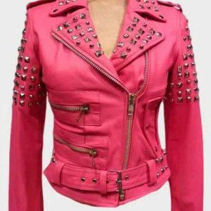 Womens Pink BikerGolden Studded Jacket