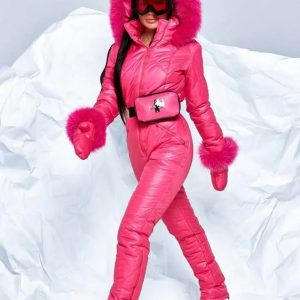 Womens-Pink-Puffer-Ski-Hooded-Jumpsuit