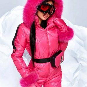 Womens-Pink-Puffer-Ski-Fur-Hooded-Jumpsuit
